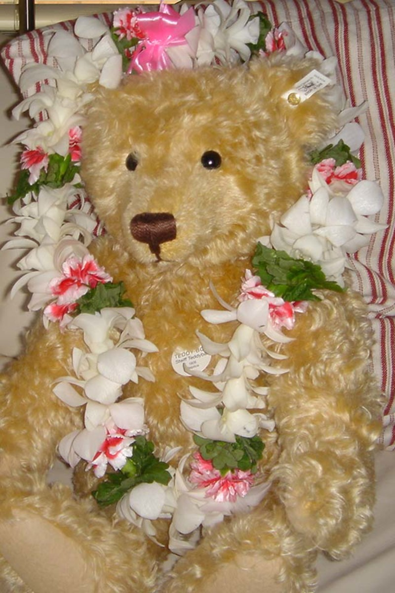 Ted wears a lei made of white orchids, pink carnations and green leaves.  This lei was made by Besse's Lei Stand, Honolulu airport.  Hi Besse!
