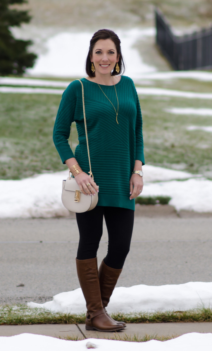 A long cozy sweater is perfect over leggings.
