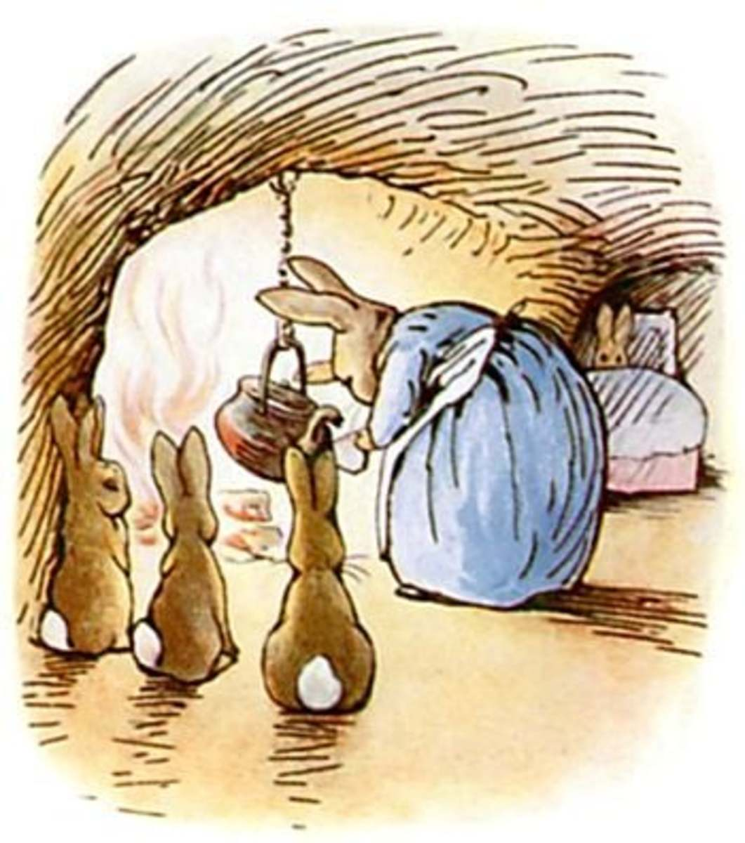 I am sorry to say that Peter was not very well during the evening. His mother put him to bed, and made some chamomile tea, and she gave a dose of it to Peter! 'One table-spoonful to be taken at bed-time'