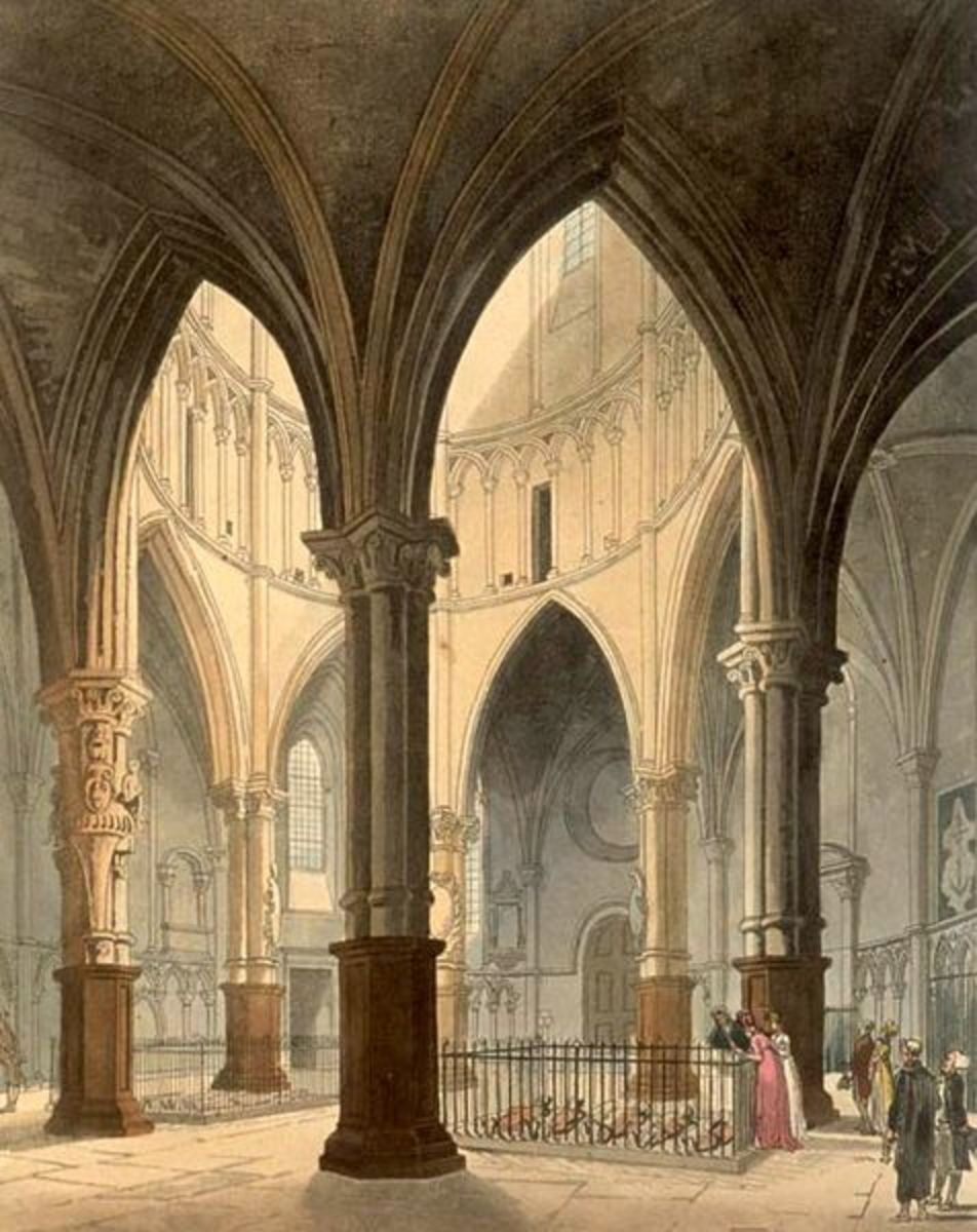 The inside of Temple Church in the 1880s