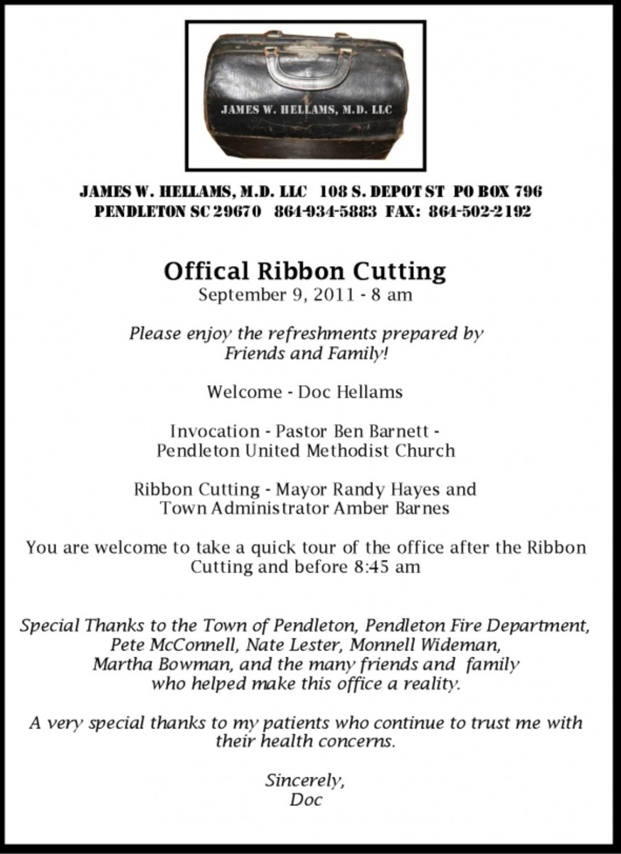 Program for Dr. Hellams Ribbon Cutting