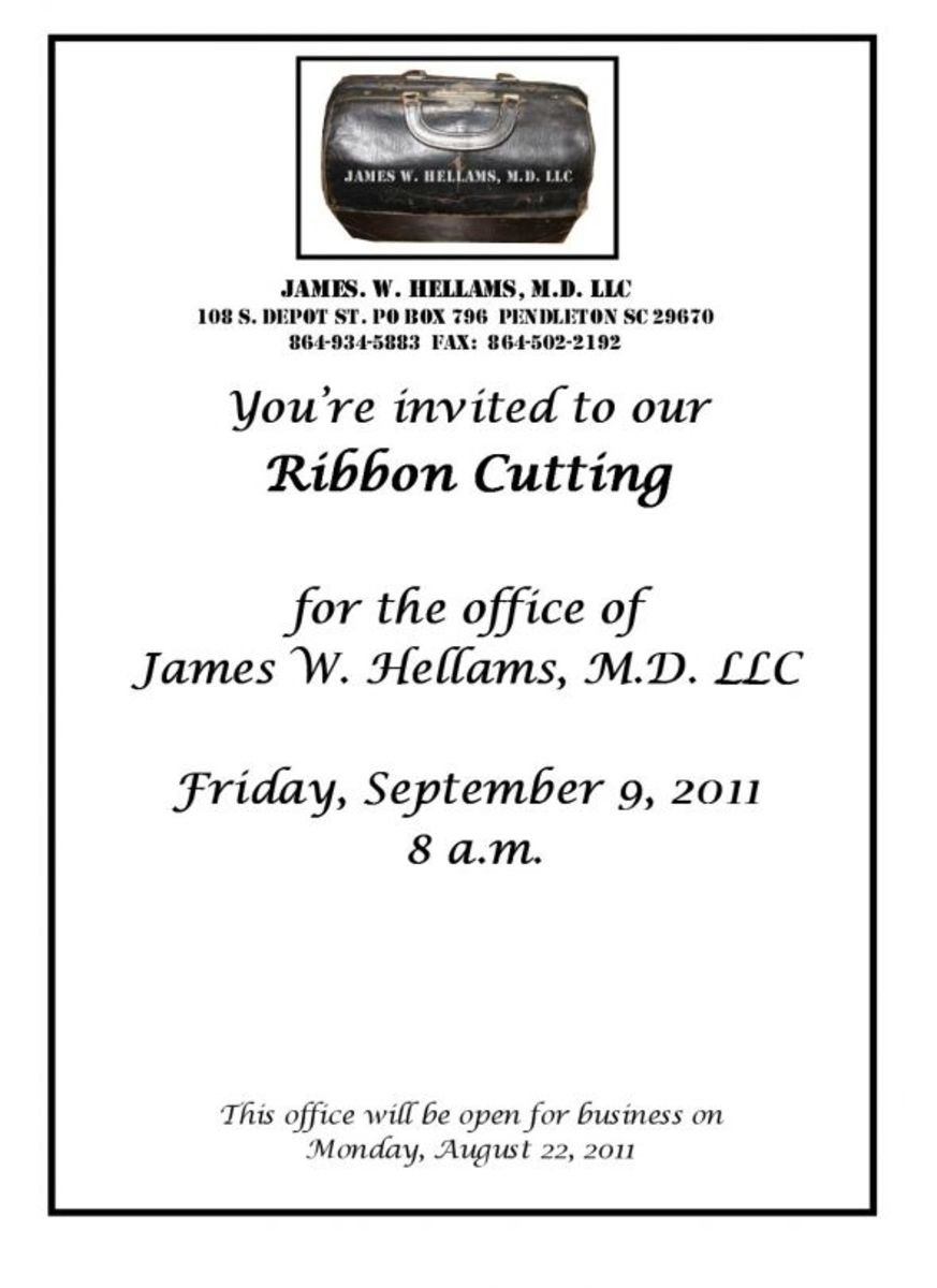 Ribbon Cutting for James W. Hellams M.D. LLC