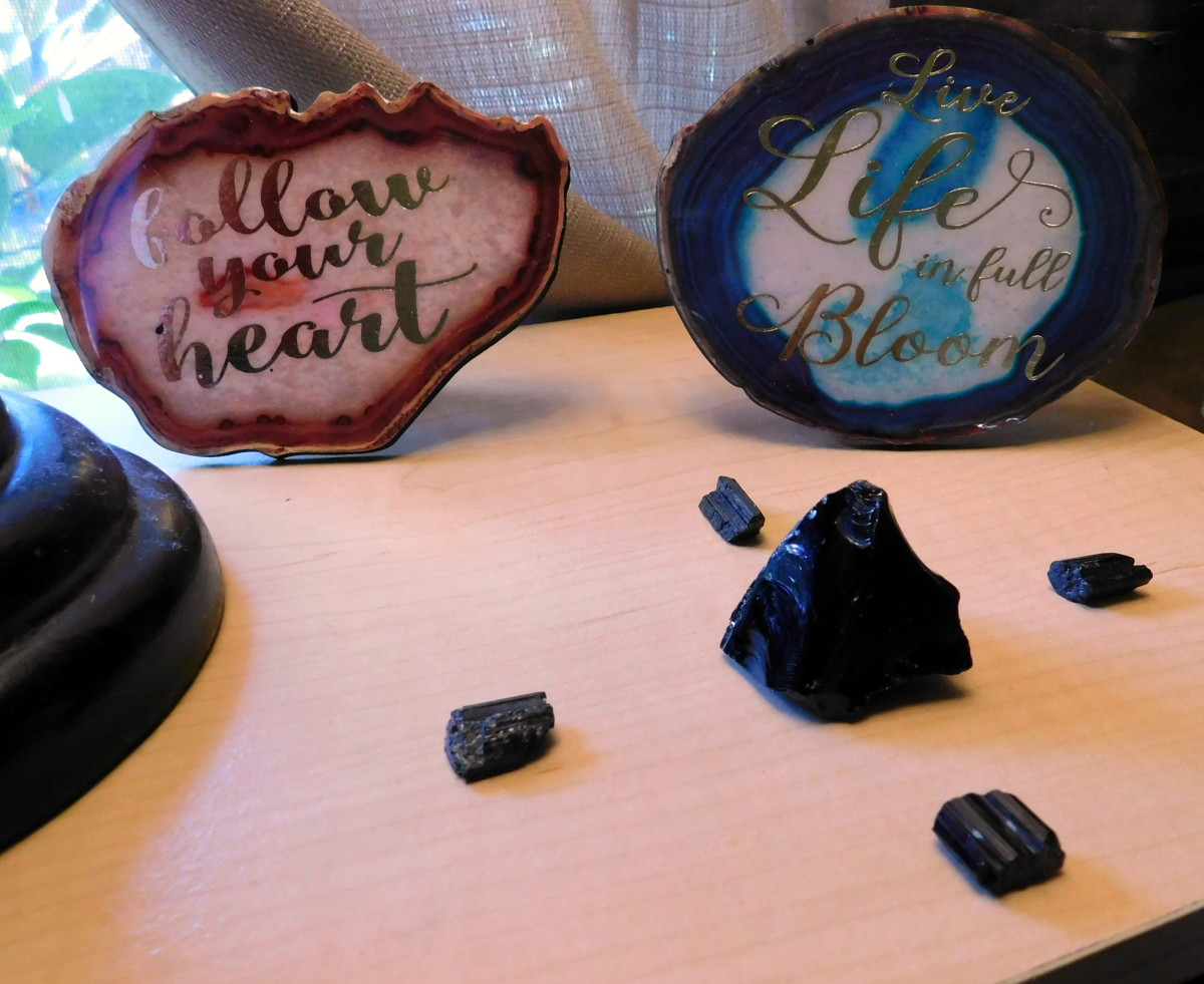 Protection grid using black tourmaline and black obsidian