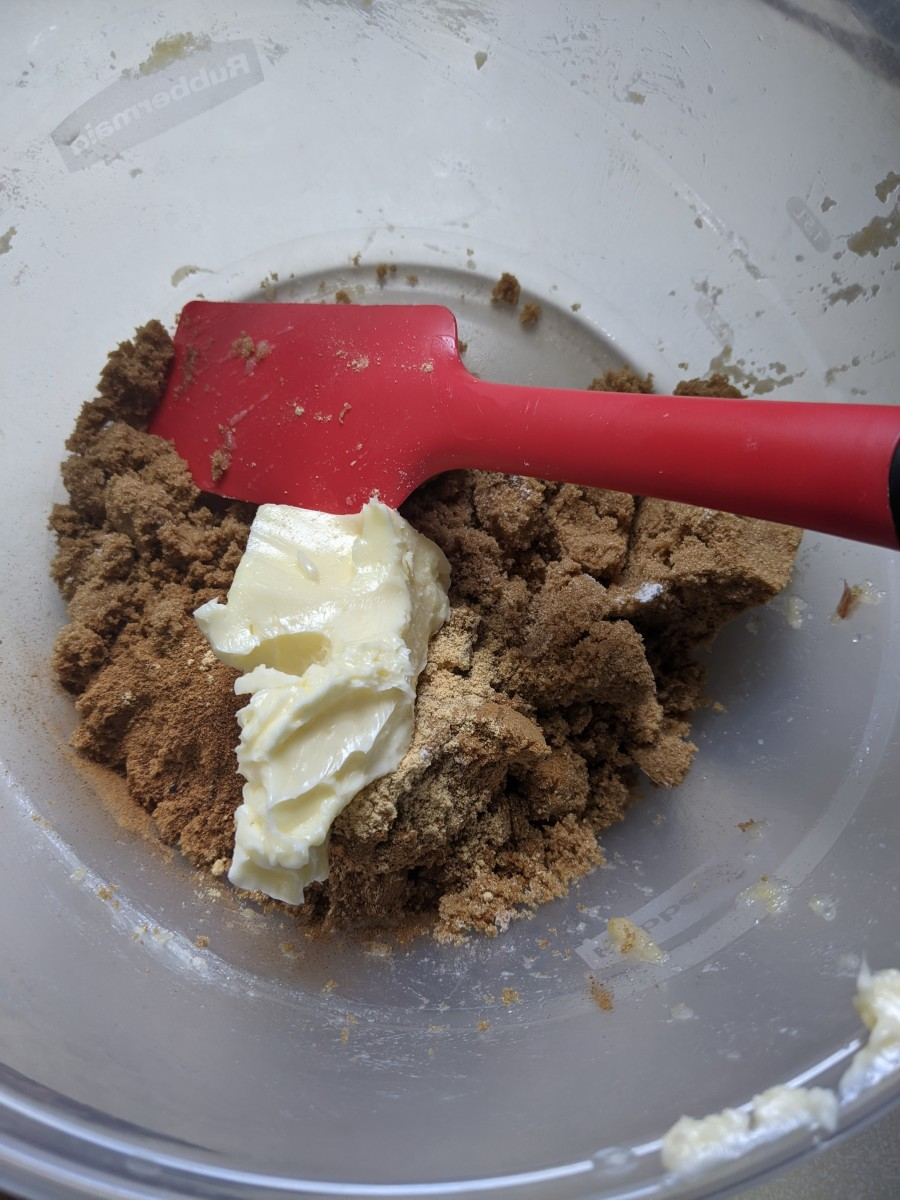 Add butter to make it sticky and crumbly