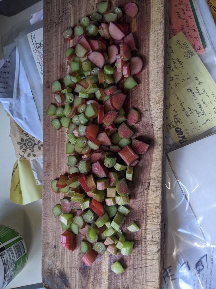Chop rhubarb small