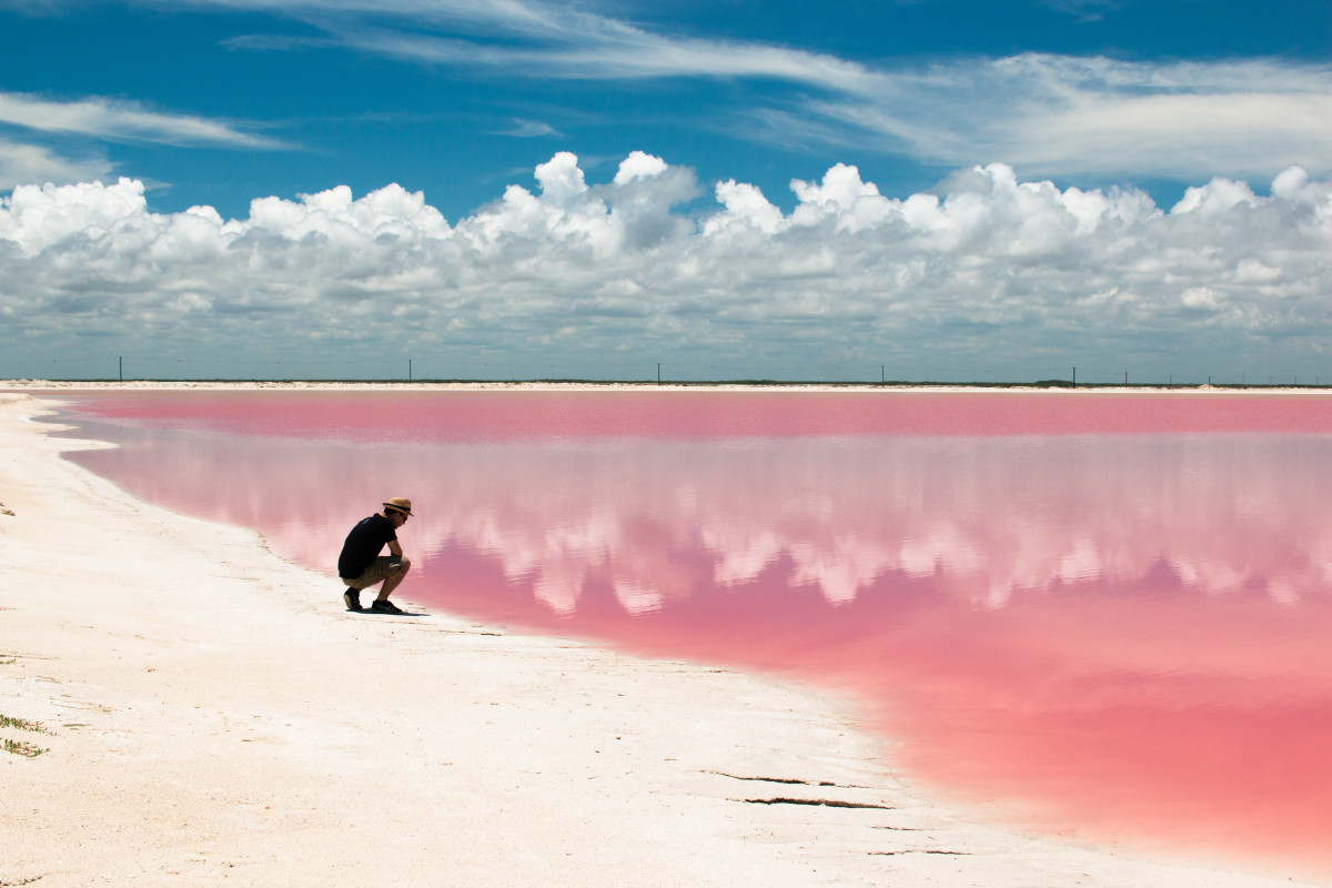 The pink lake in Rio Lagarto, Mexico is one of the most photographed pink lakes in the world due to tourism in the area.
