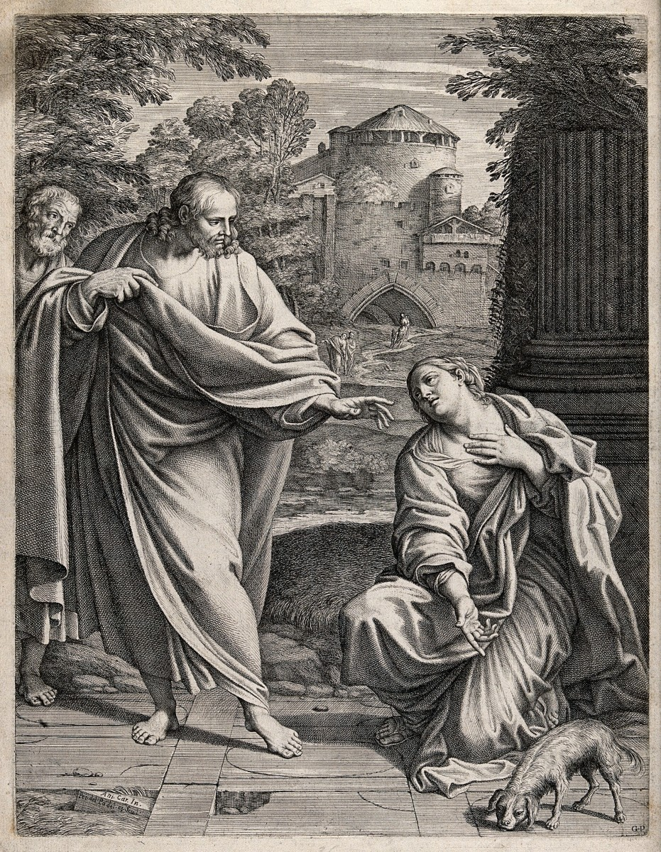 The Canaanite (or Syrophoenician) woman asks Christ to cure her possessed daughter; she points to a dog, to which she compares herself