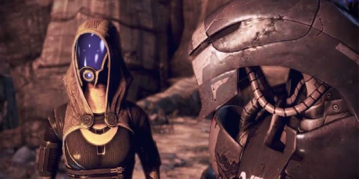 """Tali and Legion in """"Mass Effect 3."""""""