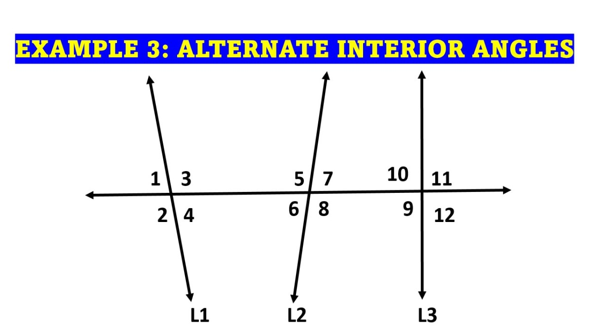 Example of Alternate Interior Angles With Three Lines Cut by a Transversal