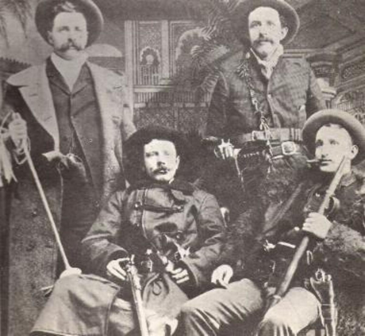 This is thought to be a photo of members of the Reno Gang; weapons are prominent.