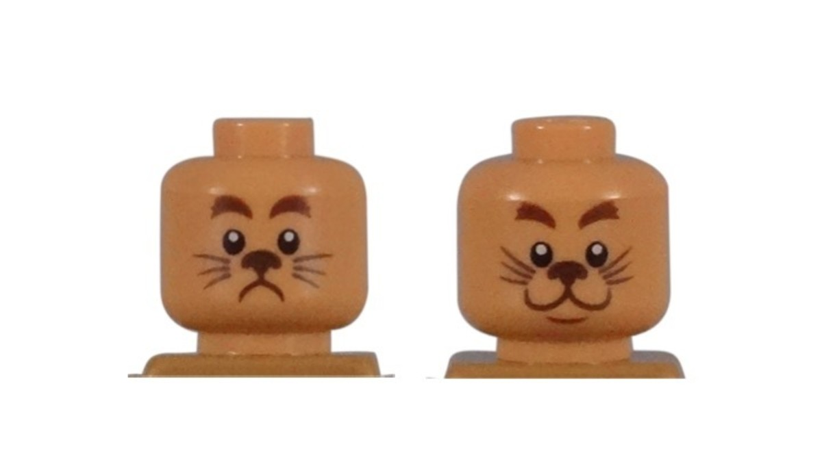 LEGO Cowardly Lion Minifigure Head Piece / Expressions