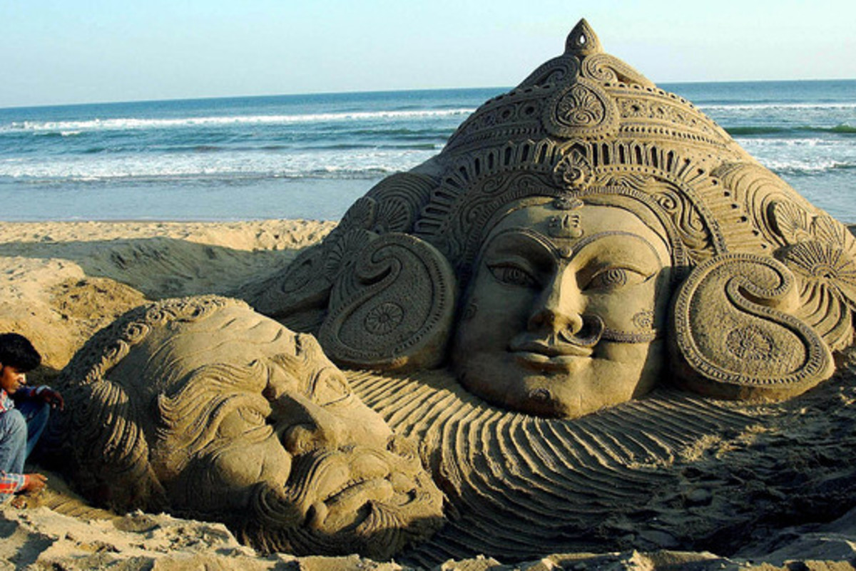 Sand sculpture, a famous work of Sudarshan Patnaik, Odisha