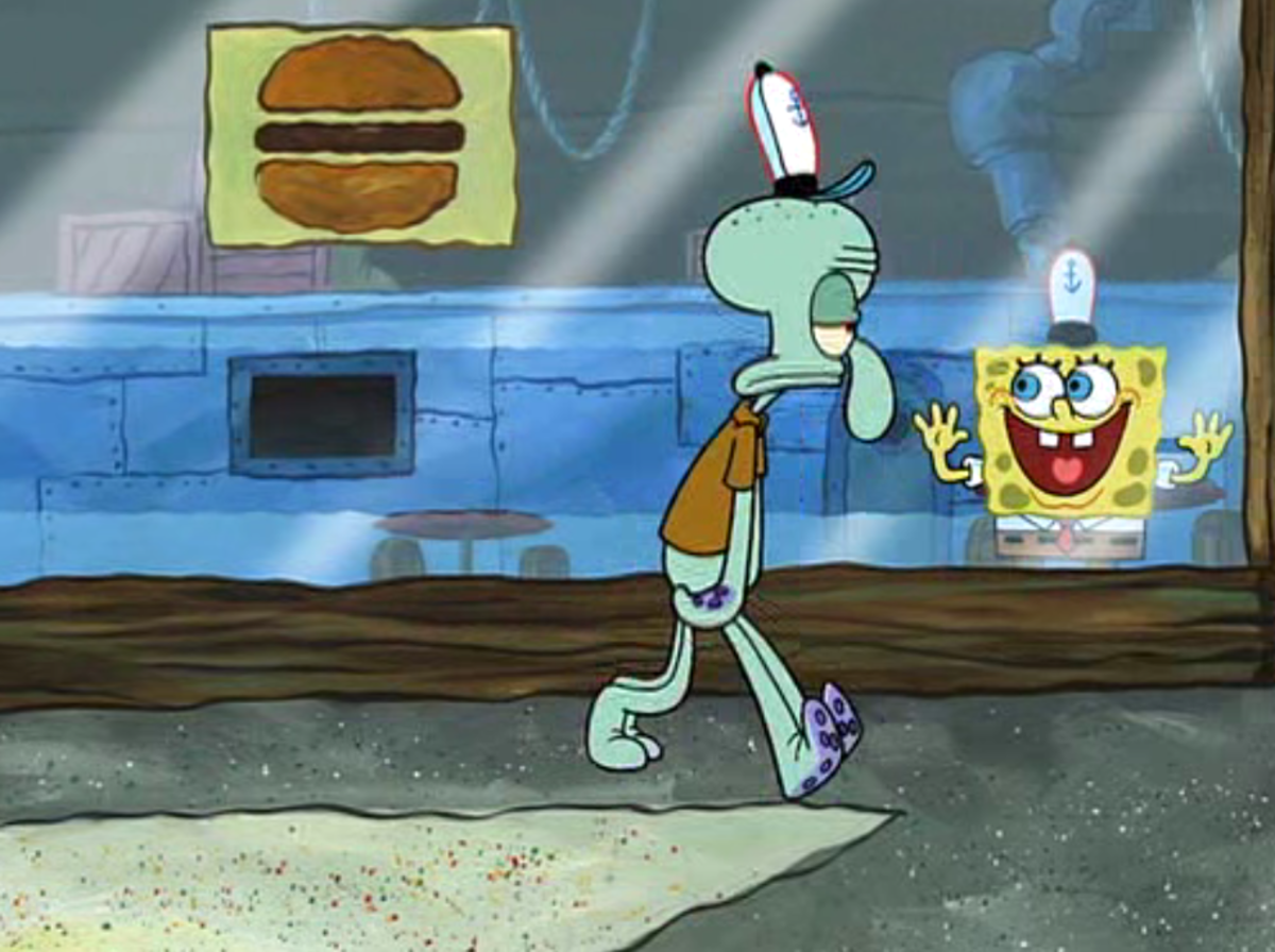 SpongeBob's love for Squidward is too much for the poor squid.