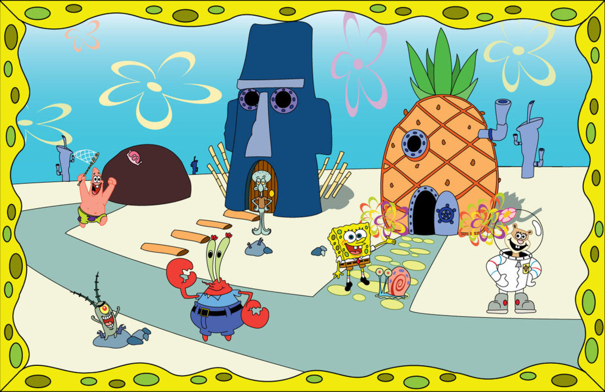 A few of the main character in the show. From left to right: Patrick the Star and his house (a rock), Squidward (the gloomy face squid), Mr. Krabs, SpongeBob and Gary the snail, Sandy the Squirrel and to the bottom of the picture you'll see Plankton.