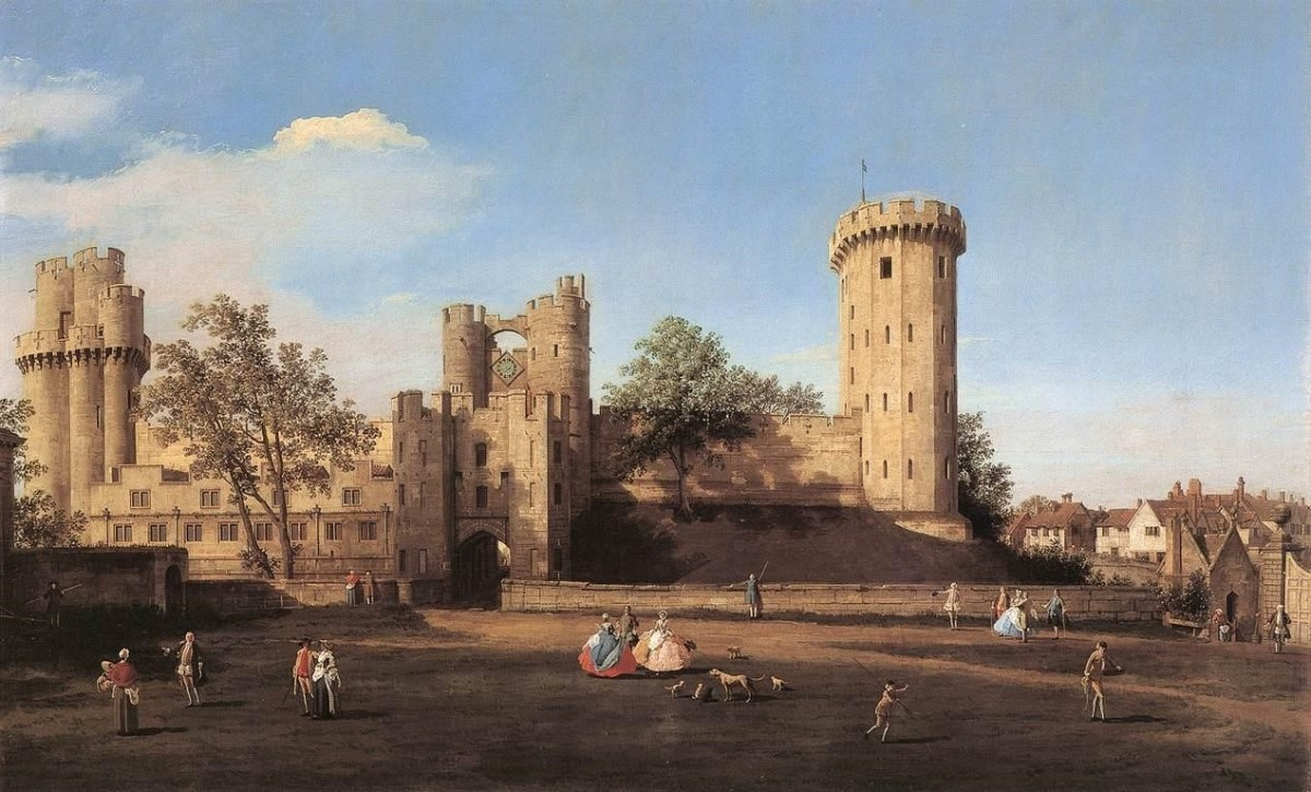 The east face of Warwick Castle from Canaletto's 1752 painting. Anne was born here in June 1456.