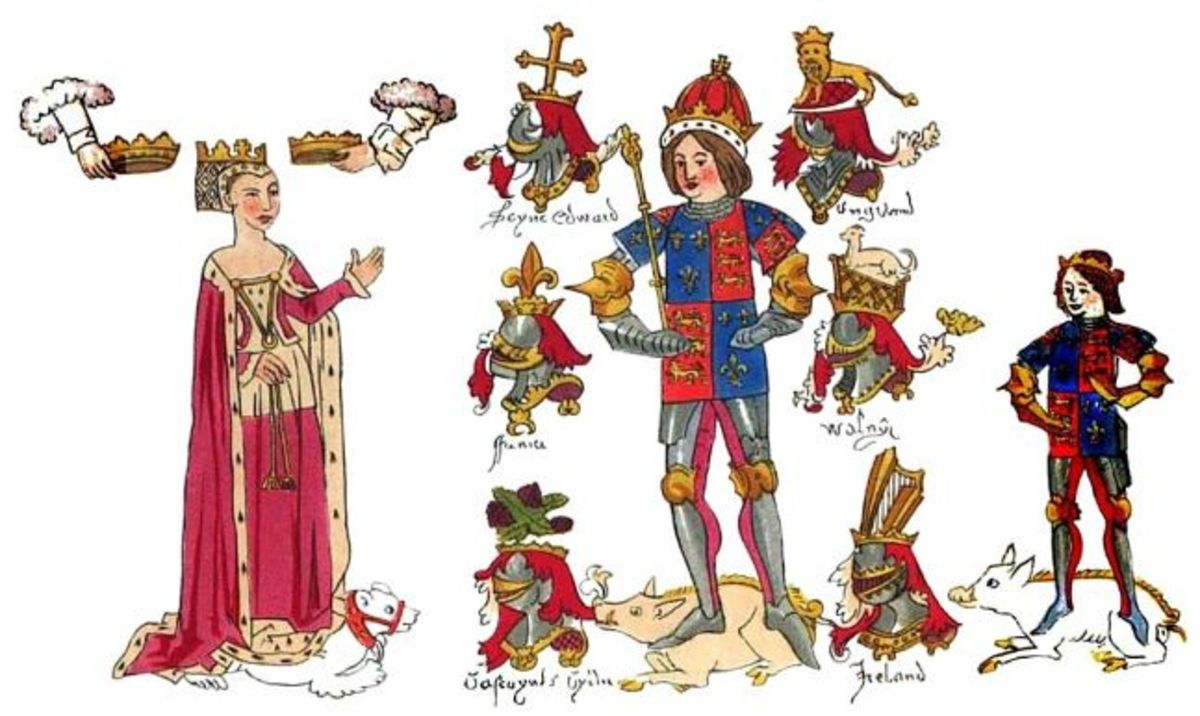 Detail from the Rous Roll. King Richard III with Anne Neville and Edward of Middleham, Prince of Wales.