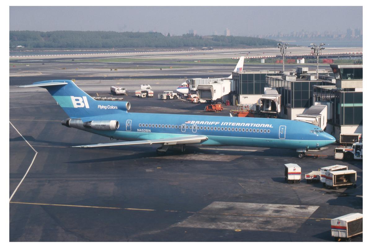 N452BN Boeing 727-200 of Braniff at LGA 1978