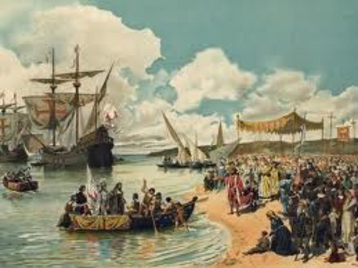 Gama's arrival in a painting