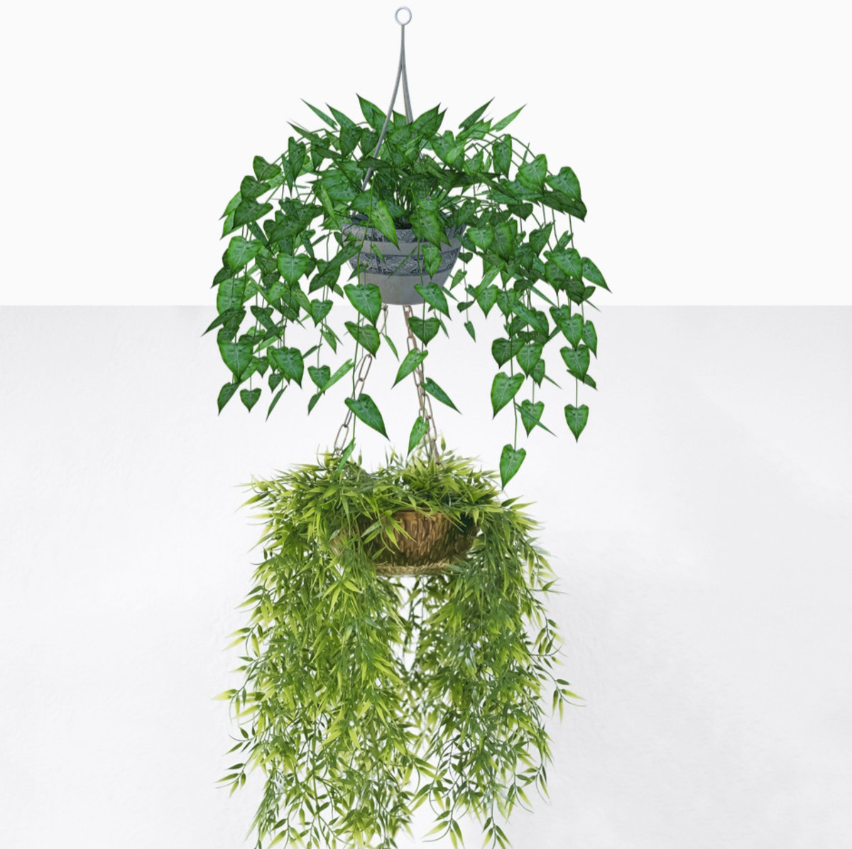 You can create plant tiers several ways: by hooking one plant under another, by putting potted plants into a tiered fruit basket, or by making a macrame hanger with containers for more than one plant.