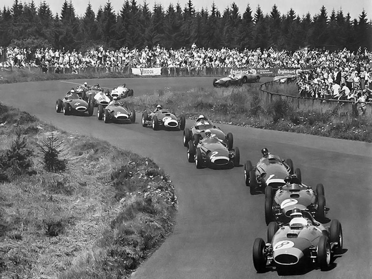Formula 1 cars in the 1957 German Grand Prix. Note no run off areas and ditches add to the hazards. And, almost no protection for spectators should an errant race car come flying off the track.