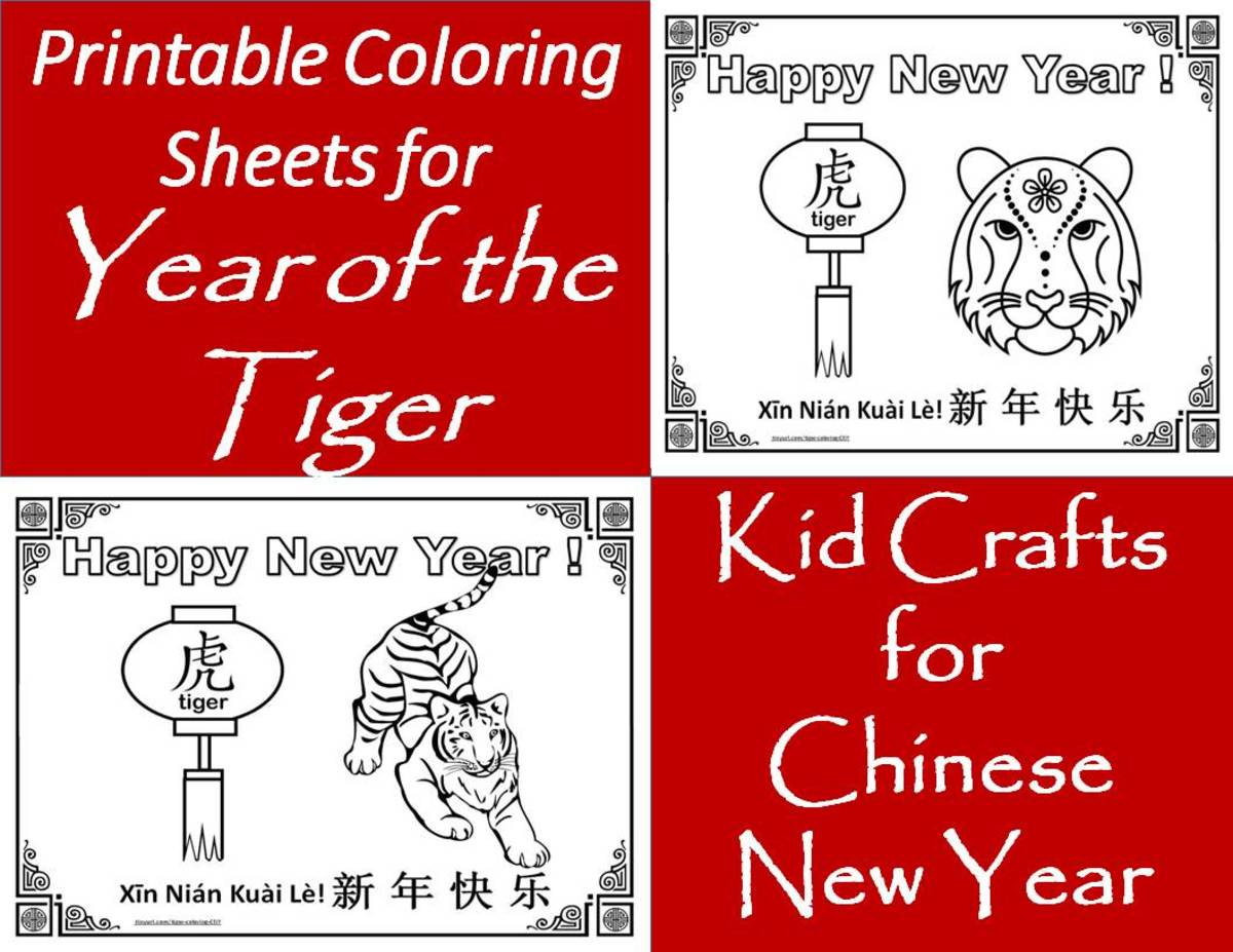 Find 30 different printable coloring sheets for the Chinese Zodiac, Year of the Tiger.