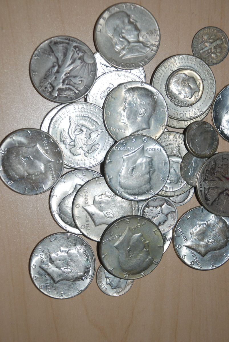 Photo of junk silver dimes, quarters and half dollars