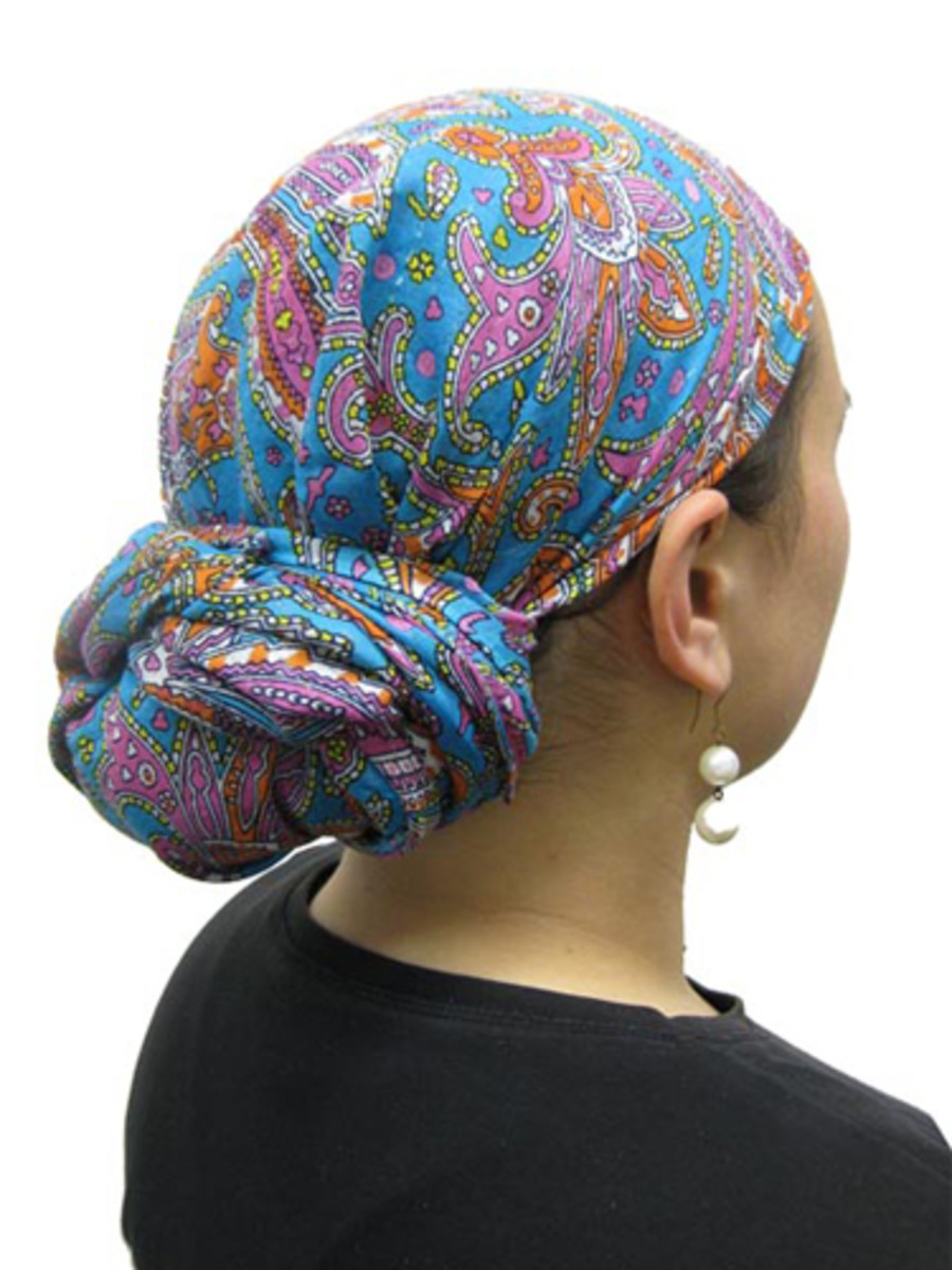 Jewish woman with hair covering.