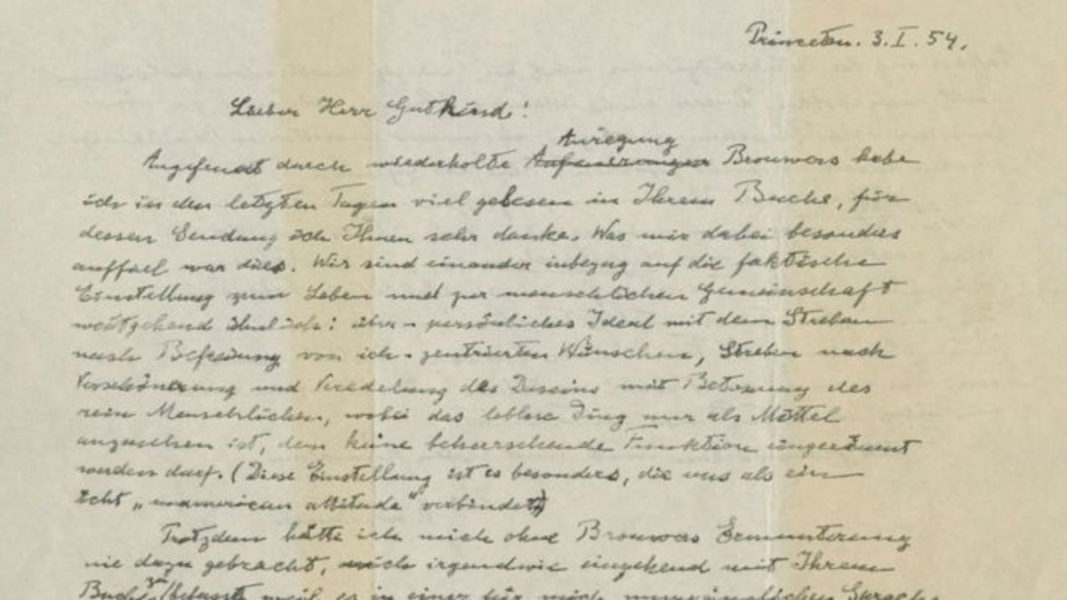 By Reuters.  Albert Einstein's letter to Gutkind was sold for $2.9 million in an aunction in New York City in December of 2018.