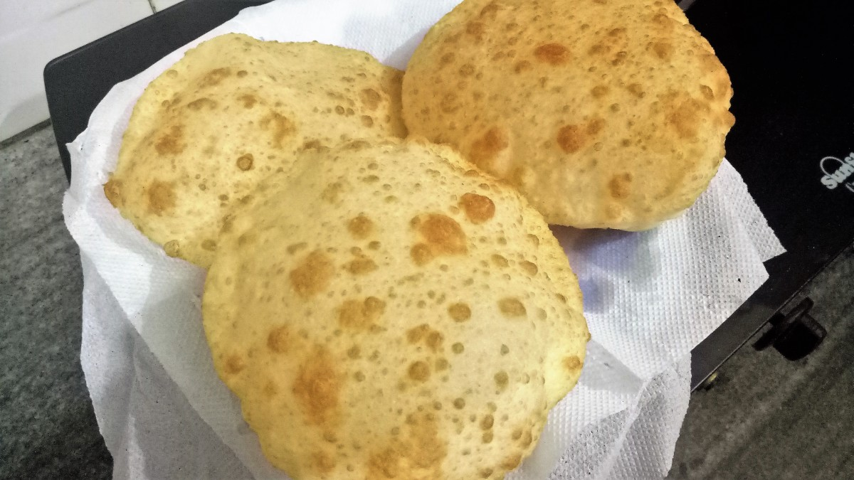 Punjabi bhature is soft and fluffy