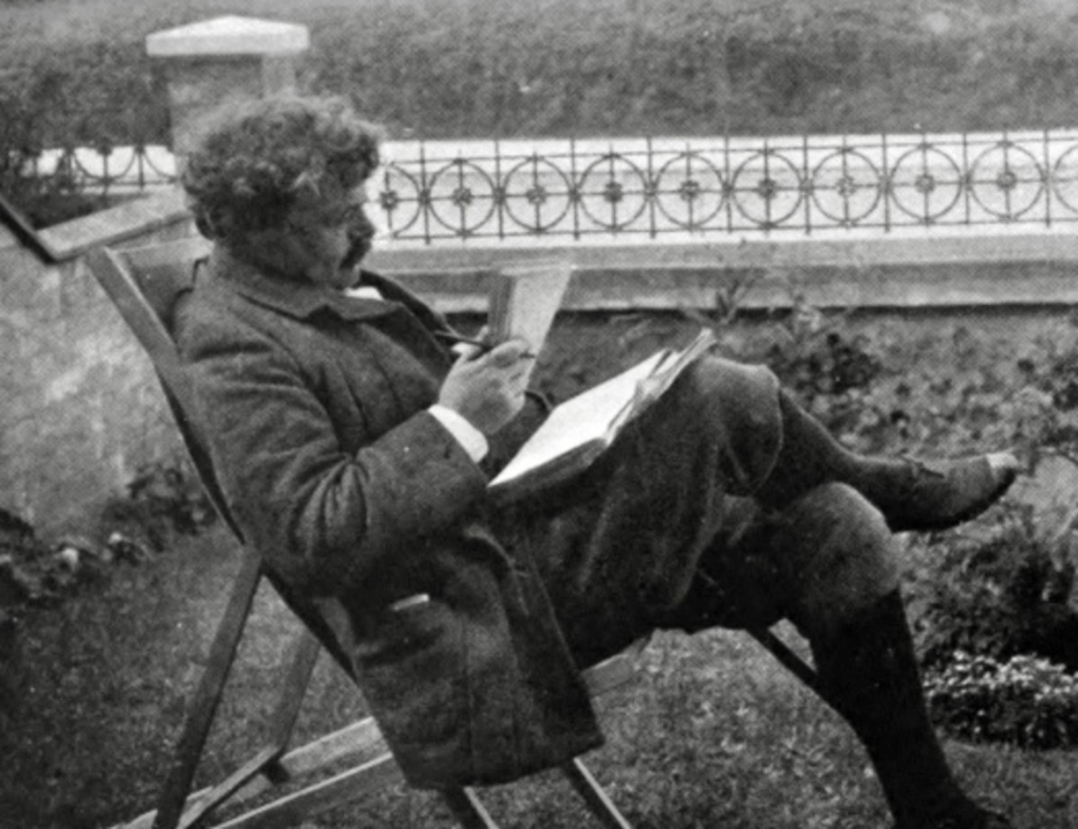 The great philosopher and Christian apologist G.K. Chesterton at work
