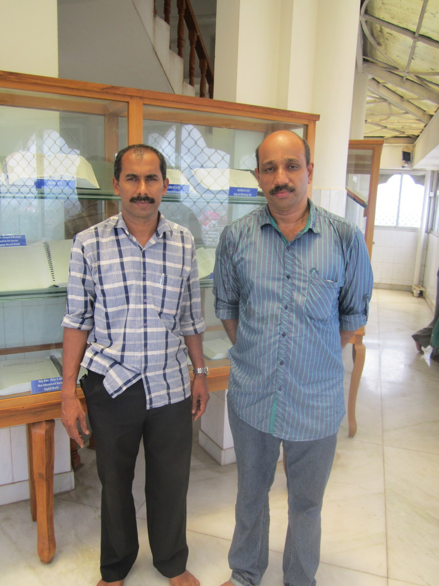 All religious people visit the Bible Tower. Here in this photo two friends belonging to Hindu and Islam community  posing for a snap.