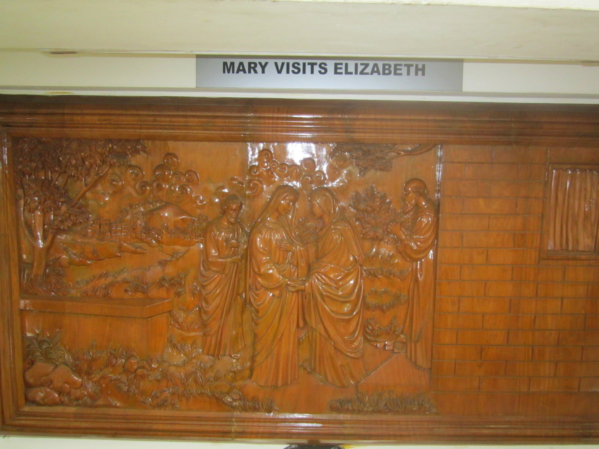The carvings in wooden platform depicting some  religious scenes