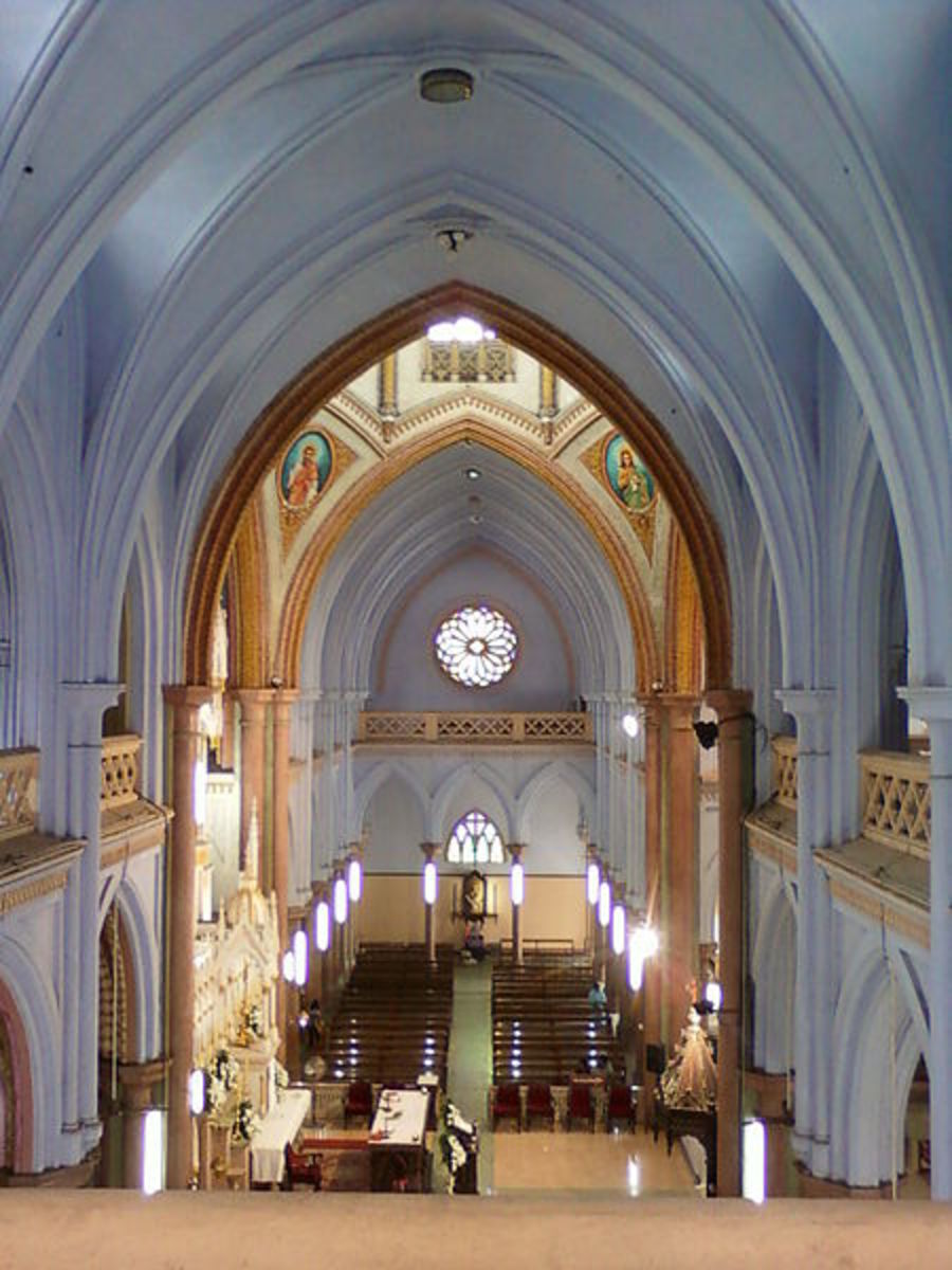 Inside of the Church. Observe the beauty of the architectural wonders of olden time.