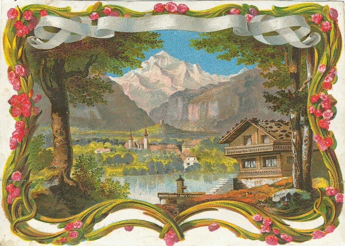 Free vintage Father's Day cards: mountain scene