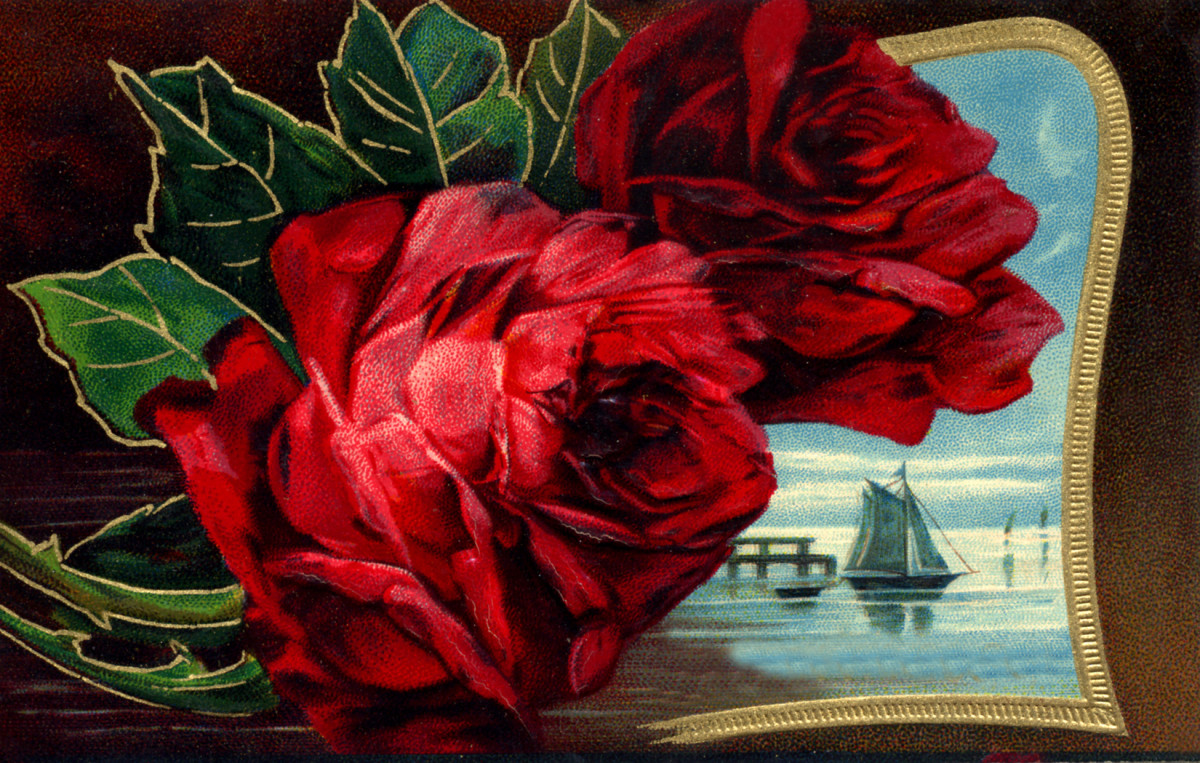 Free vintage printable greeting cards for Father's Day: Red roses and landscape