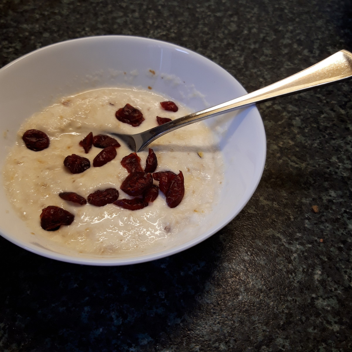 Kaszka with coconut milk and dried fruit