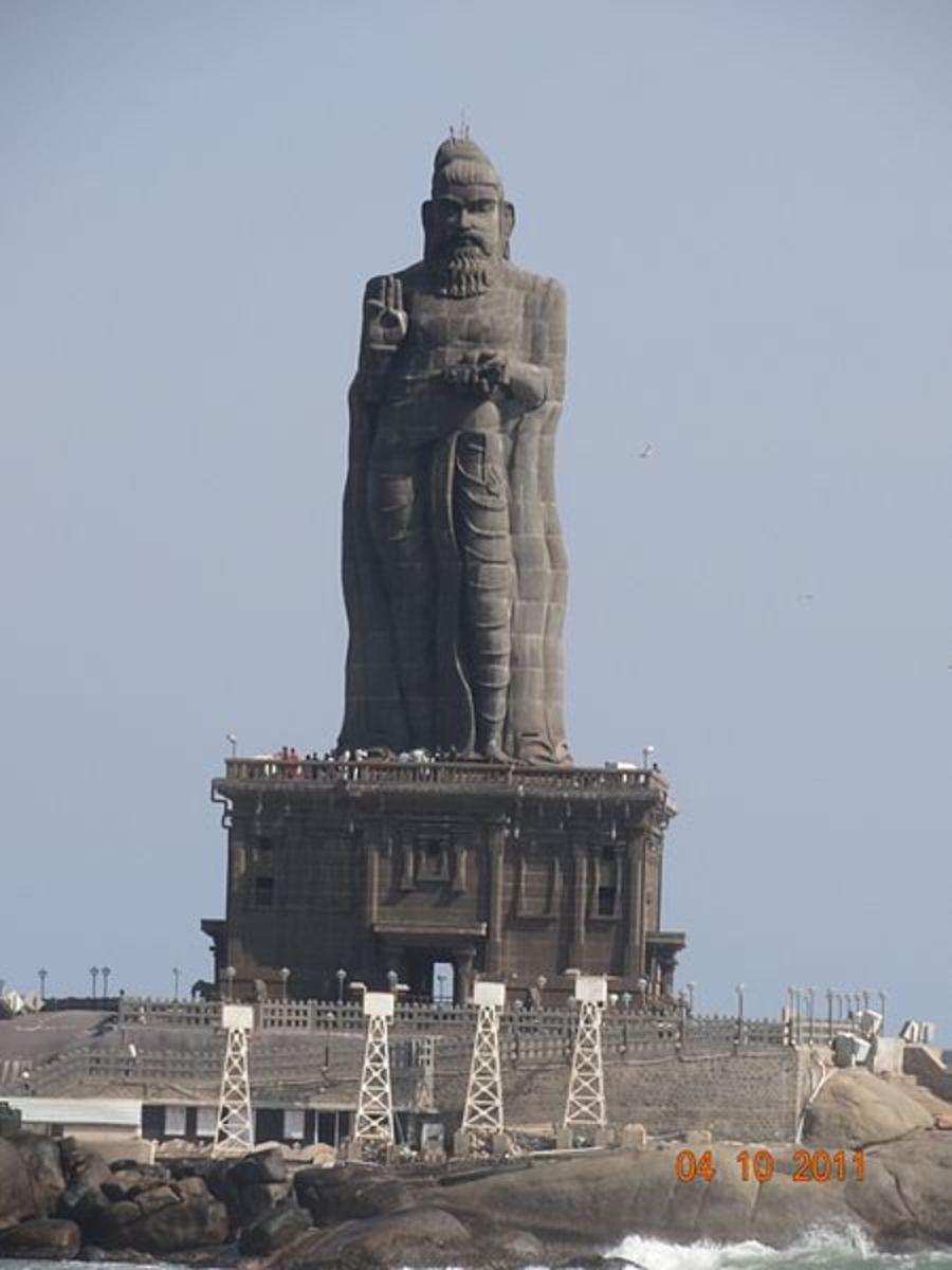 The huge statue of Thiruvalluvar, the Tamil Poet