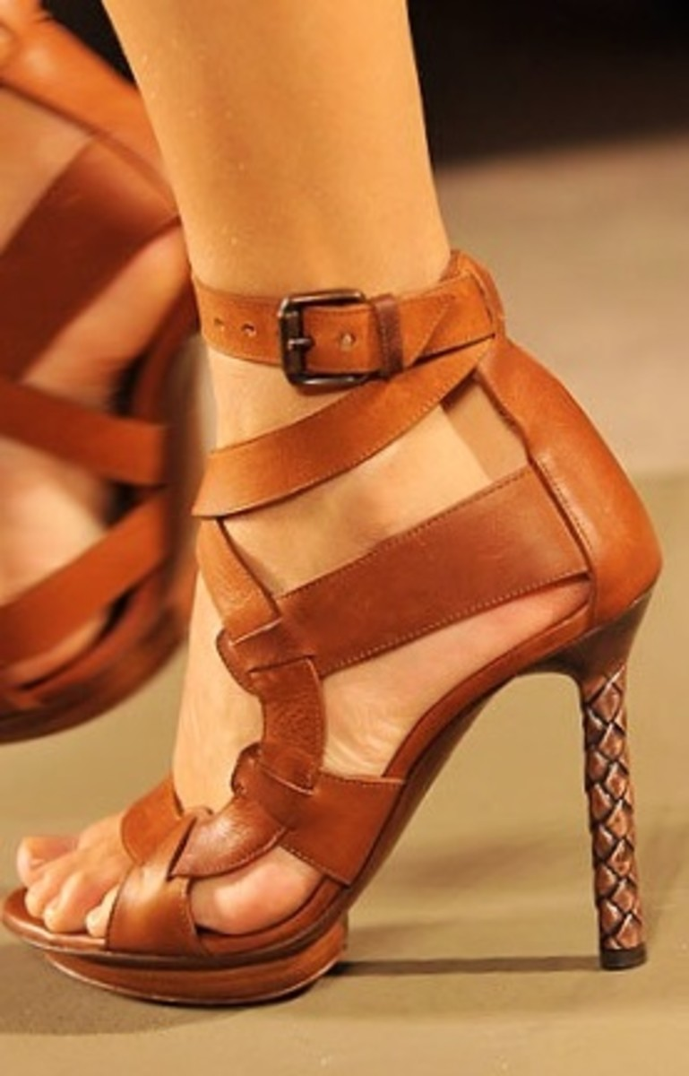 Brown high heel sandals with braid accent on the heel