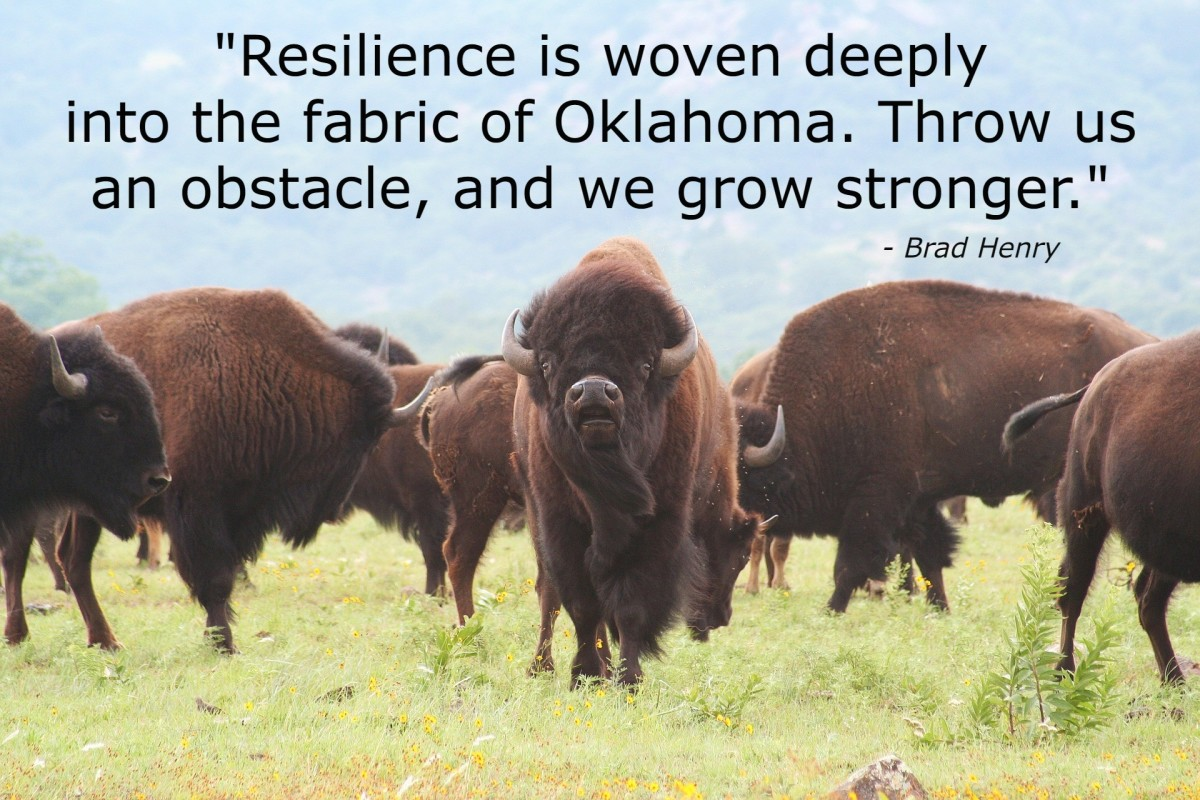 """""""Resilience is woven deeply into the fabric ok Oklahoma. Throw us an obstacle, and we grow stronger."""" - Brad Henry, former governor of the state of Oklahoma"""