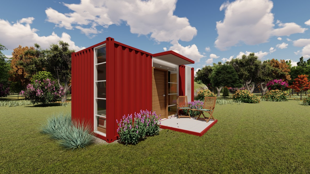 A 20-foot shipping container home