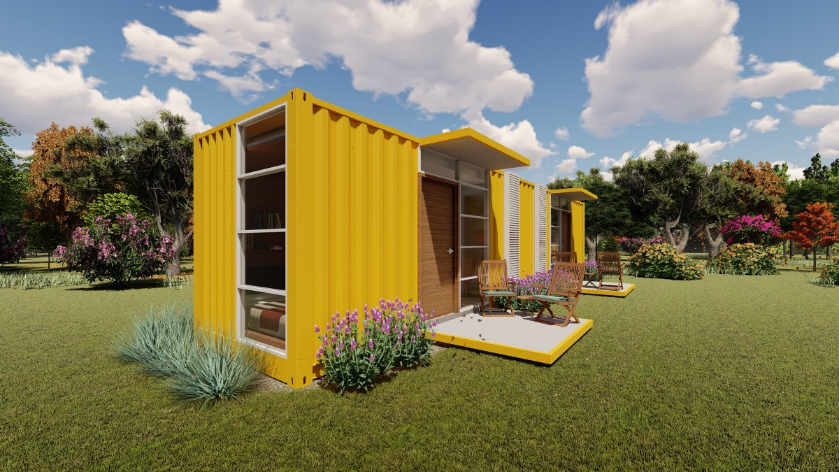 Outside view of a shipping container home