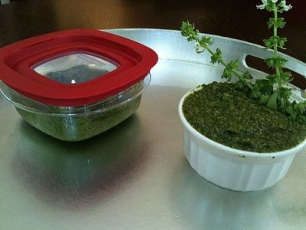 Freeze pesto in a container with a lid or serve it up in classic white.