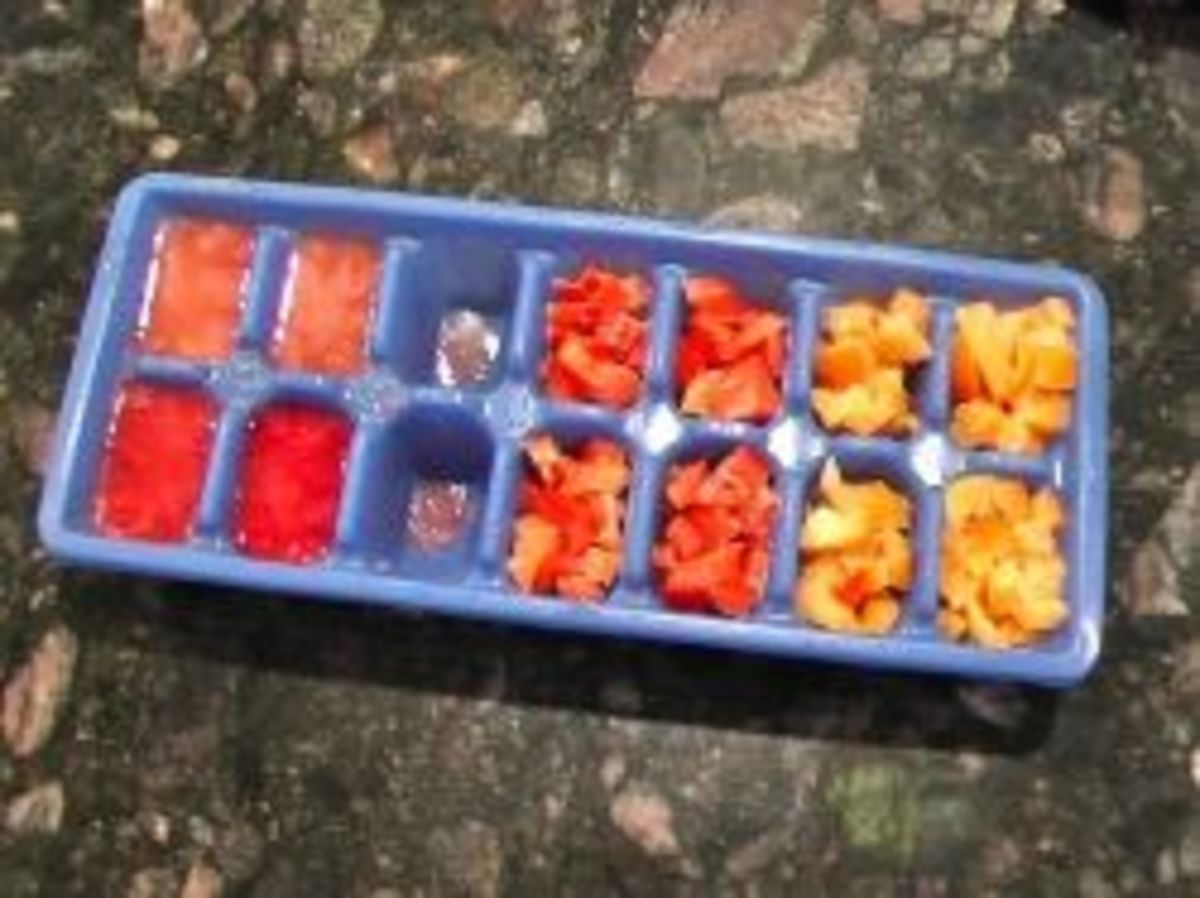 chopped Bell peppers frozen in an ice cube tray