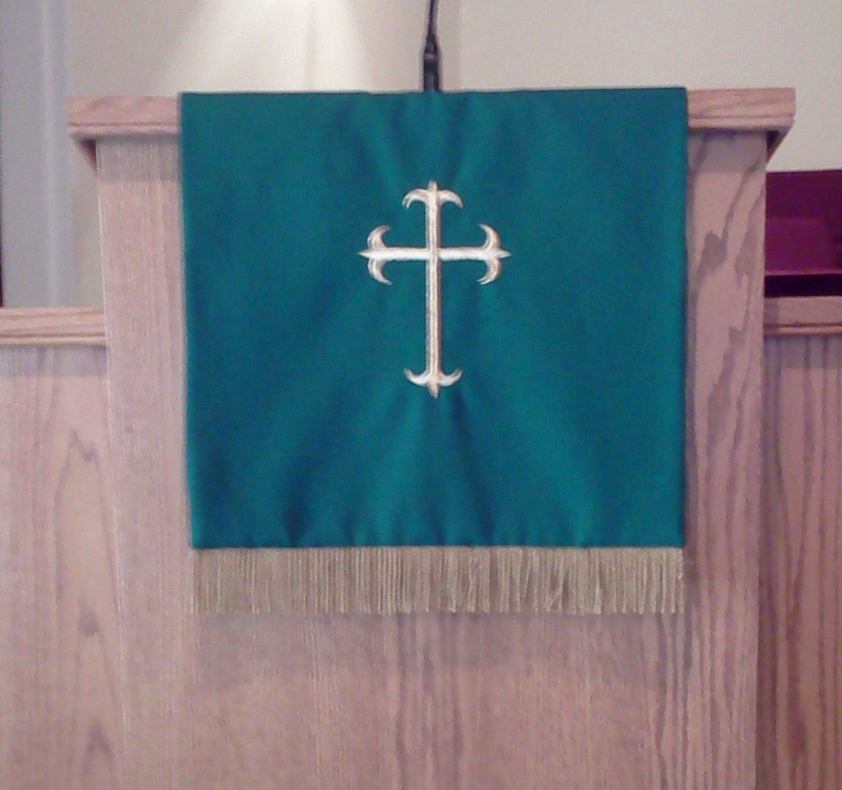 Green is the color of the long Epiphany season that follows Christmastide. This photo was also taken at our former church, Community United Methodist, in Fruitland Park, Florida, USA