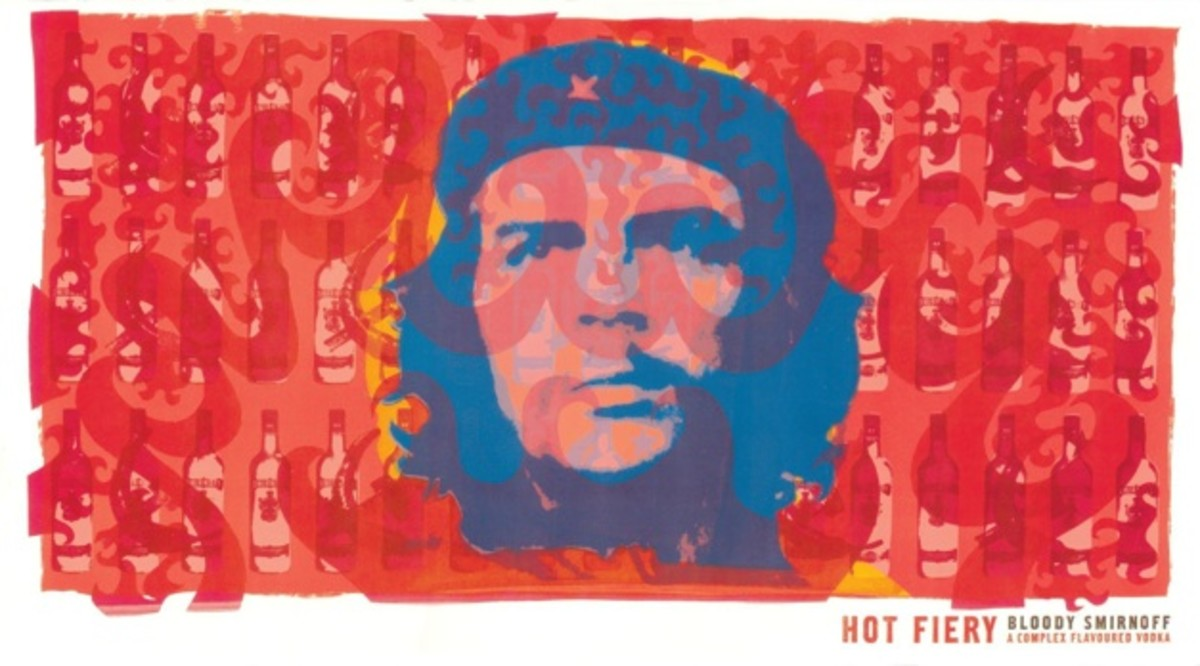 Courtesy of Smirnoff.  Marxist revolutionary, Che Guevara died in 1967.  He then became a symbol of revolt and whose image was later appropriated by businesses to make a profit. The reason for his fight is lost as well as the lengths he went to.