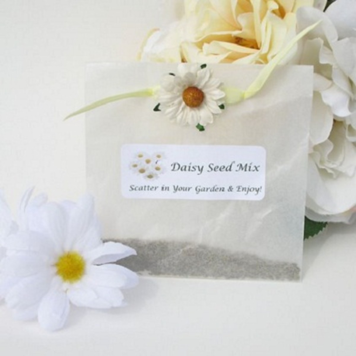 Buy daisy seeds in bulk and package them to give to your guests. Once planted, they will remind them of your special day for years to come