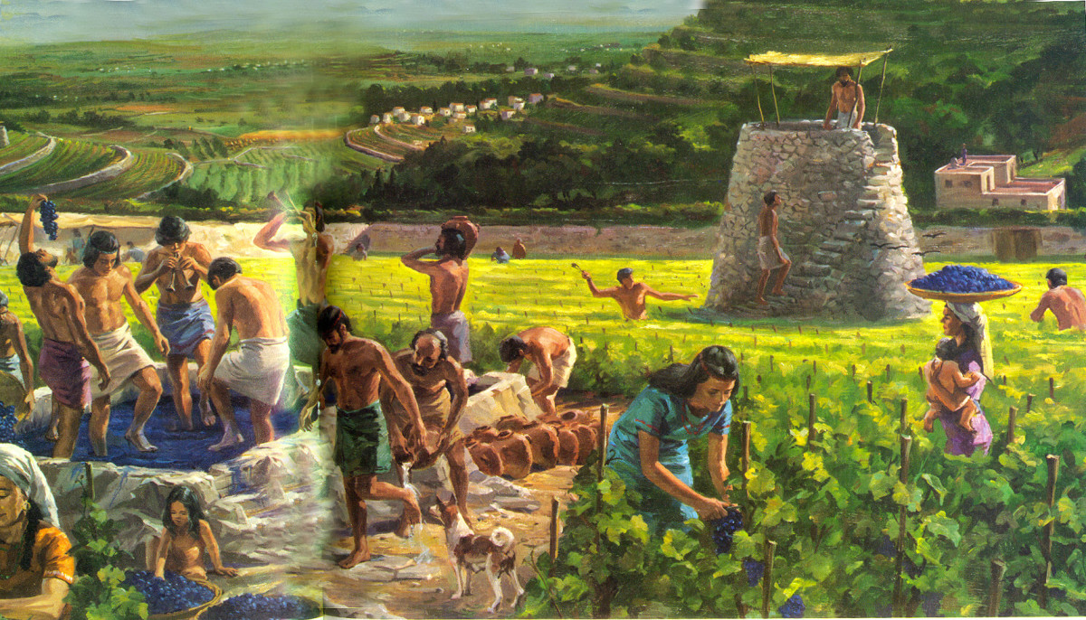 Ancient Jerusalem during the harvest of Grape