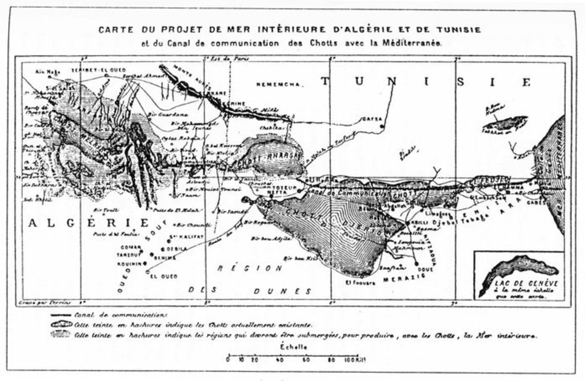The maximalist plan of territory to be flooded - note the comparison to Lake Geneva in the bottom right corner.