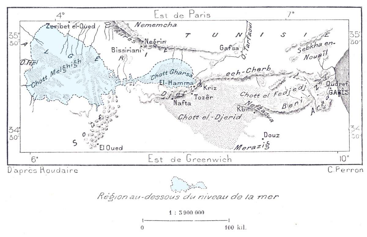 A map of those regions of Southern Tunisia  with those parts which are actually below sea level.