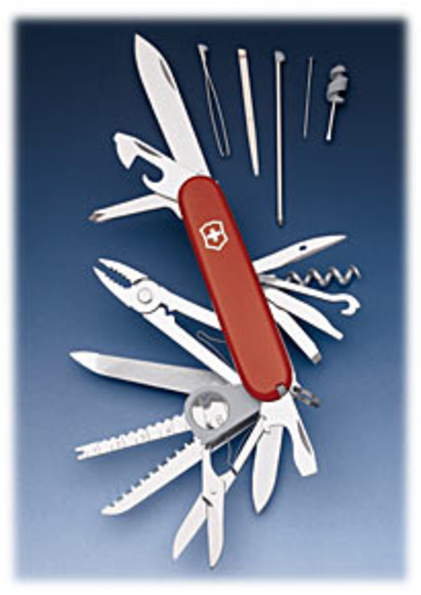 A swiss army knife with some of the tools